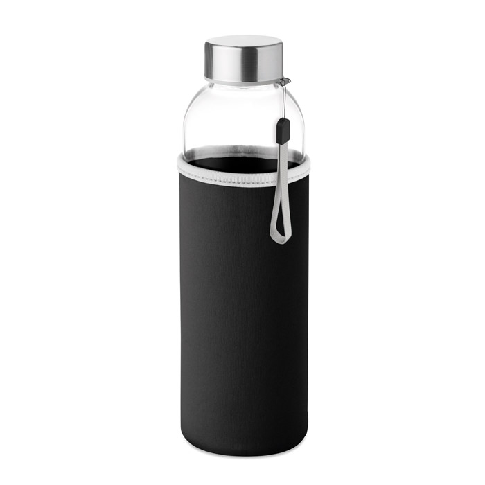 Borraccia in vetro da 500 ml, con pouch in neoprene.