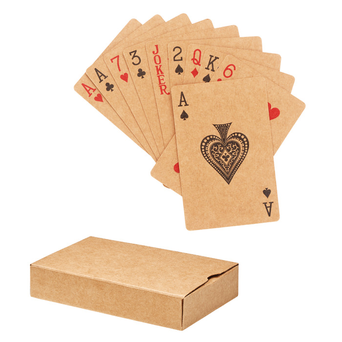 Carte da gioco ecologiche in carta riciclata, in box in carta riciclata. 54 carte.