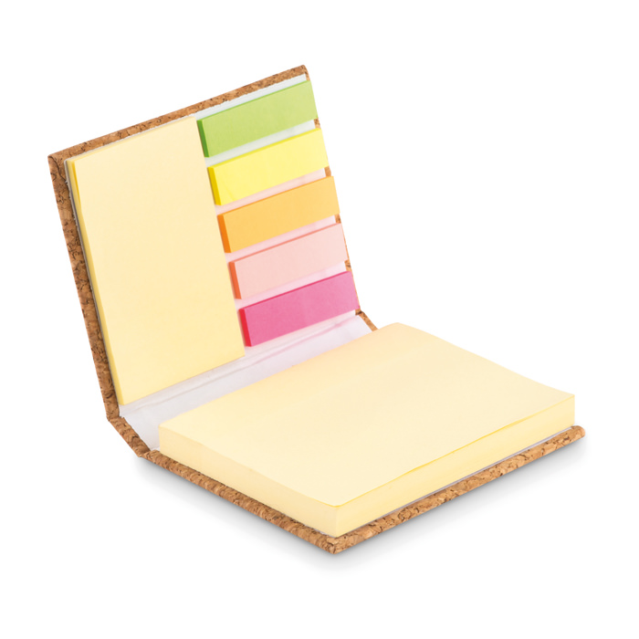 Post-it in sughero con 5 stick notes mutlicolore e stick memo in 2 misure rispettivamente da 50 e 35 fogli.