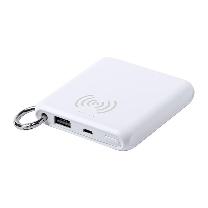 Power bank USB in plastica con batteria da 5000 mAh, caricabatterie wireless integrato e porta USB. Completo di anello portachiavi in metallo. Cavo di ricarica micro USB incluso.