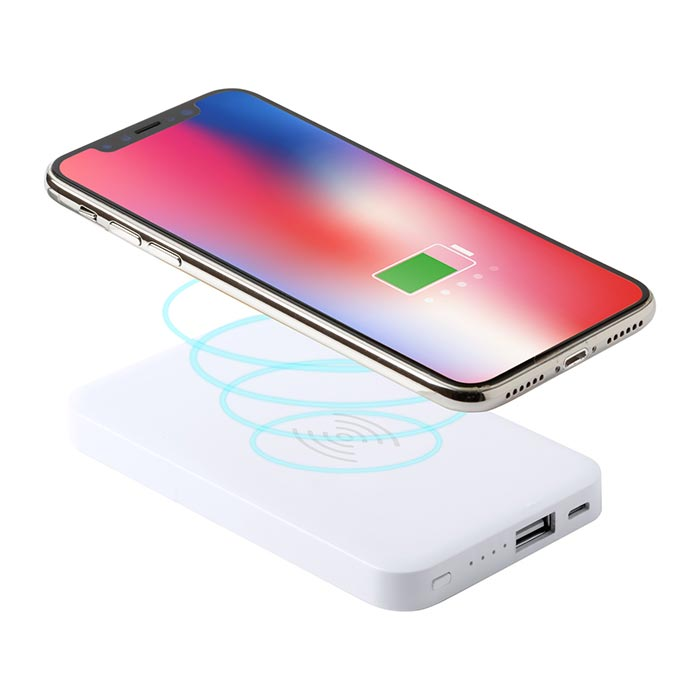Power bank a induzione in plastica con batteria da 4000 mAh e caricabatterie wireless integrato. Incluso cavo di ricarica micro USB.