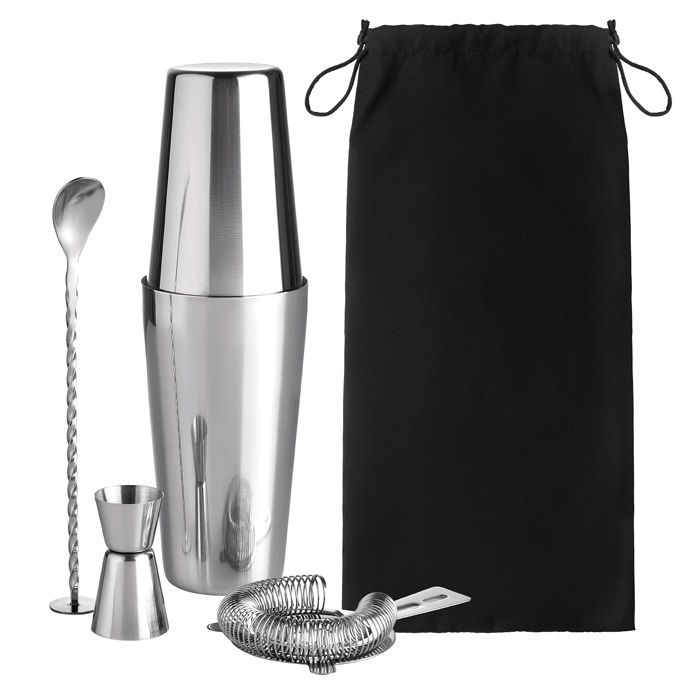 Set cocktail in acciaio inossidabile composto da shaker da 750ml, misurino (30ml) e pouch in cotone.