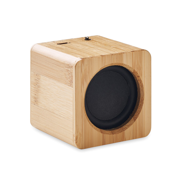 Speaker wireless 5.0 con rivestimento in bamboo con indicazione luminosa a LED. 1 batteria ricaricabile al litio da 500 mAh inclusa. Output: 3 W, 3 Ohm e 5 V. Tempo di autonomia ca. 4 ore (volume 70%).