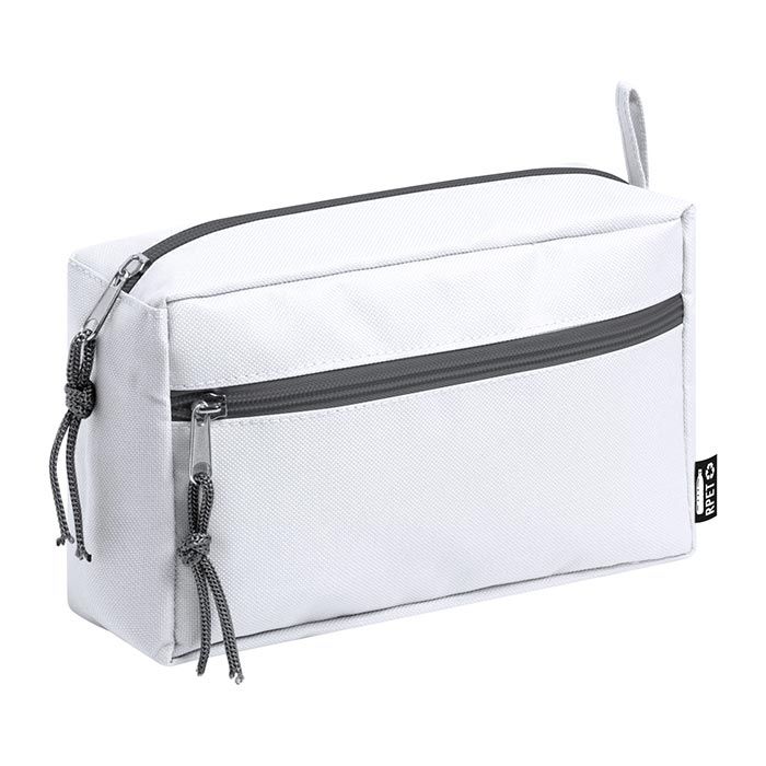 Trousse in PET riciclato con due scomparti con zip.