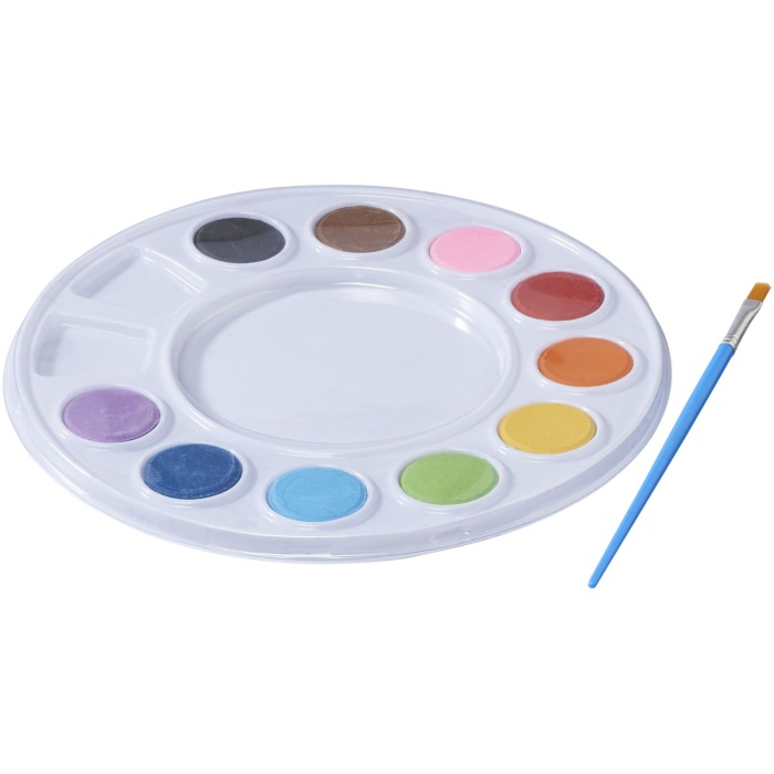 Set acquerelli. Set per dipingere che include 10 colori brillanti ed un pennello. PVC.