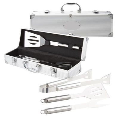 Set da barbecue 3 pz in acciaio inox (forcella, pala e clip) in custodia in alluminio.