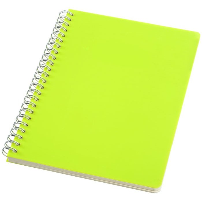 Notebook L Happy Colors. Block notes a spirale, con copertina in PP e 64 fogli A5 color crema a righe (70 g/m²). Plastica PP.