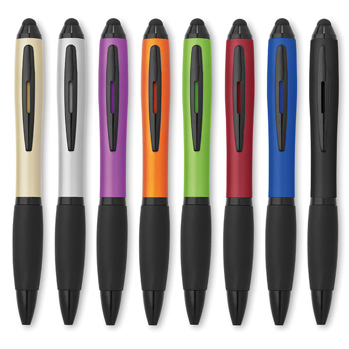 Penna touch screen con meccanismo twist, in ABS e finitura metallizzata. Refill blu.