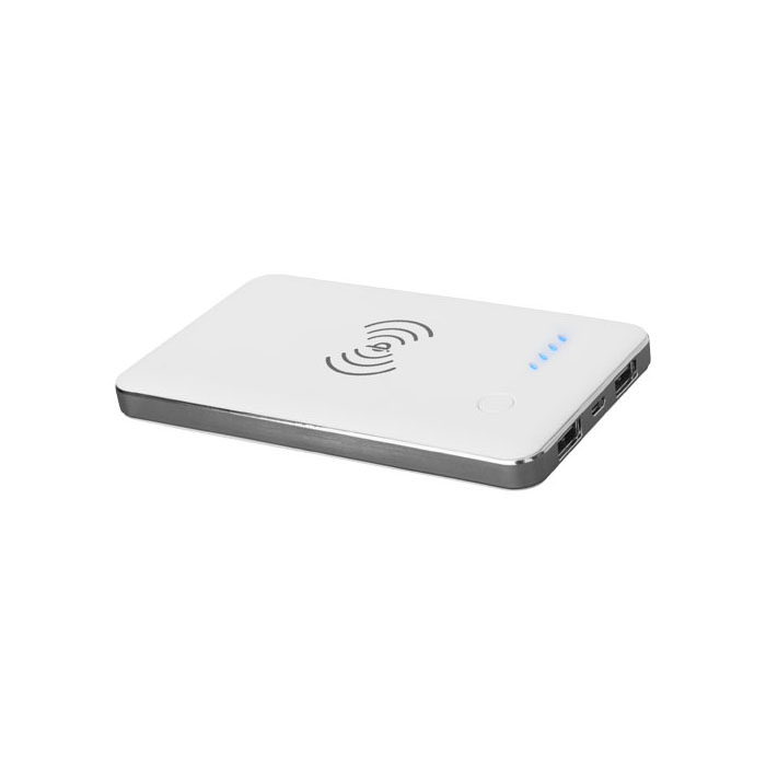 Powerbank PB-4000 Qi® wireless. Caricabatteria wireless Qi® e batteria ricaricabile da 4000mAh integrati. Supporta ricarica wireless fino a 1A. Doppia uscita (5V1A e 5V/2A). Per ricaricare un iPhone® wireless, è necessario avere un ricevitore di ricarica wireless esterno o una custodia apposita. Compatibile con Samsung Galaxy Note 5/S6/S6 Edge/S6 Edge+, Google Nexus 5/6/7, HTC Droid DNA, 8X, LG G3/G4, Nokia Lumia 920/930. Fornito in confezione regalo. Plastica ABS.