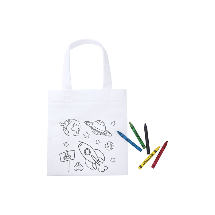 Borsa shopper da colorare per bambini con 5 pastelli. In TNT.