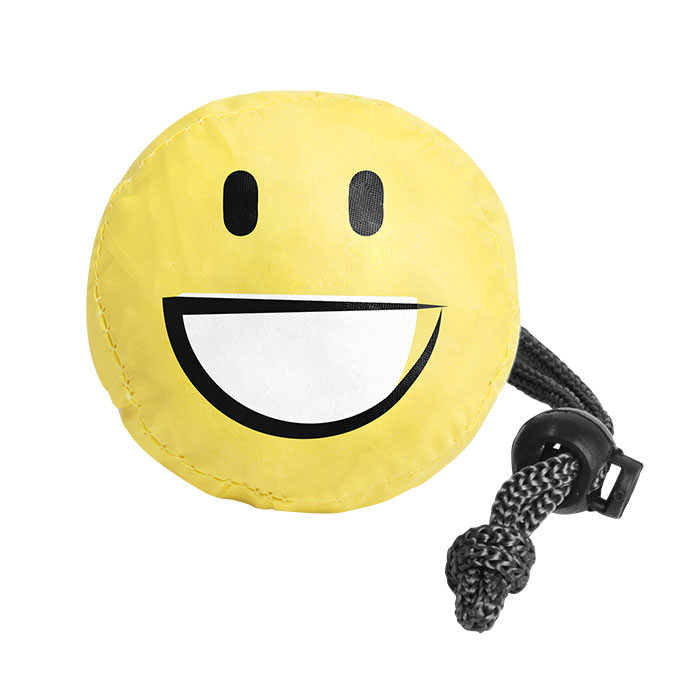 Borsa shopper pieghevole a forma di emoticon. In poliestere 190T.