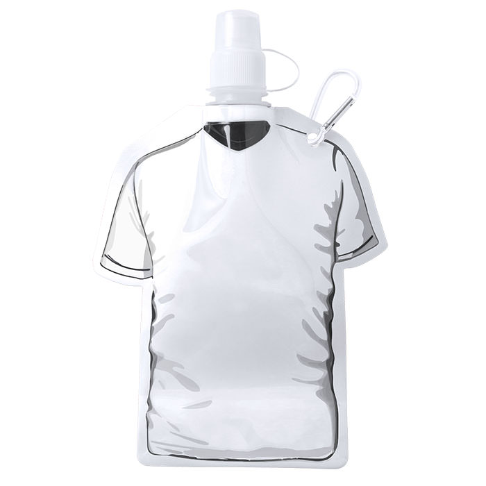 Bottiglia sportiva a forma di T-shirt con moschettone. In PET, 480 ml.