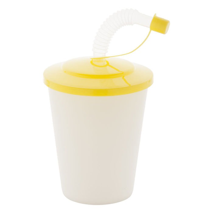 Tazza in plastica con coperchio, con la canucia, 400 ml.