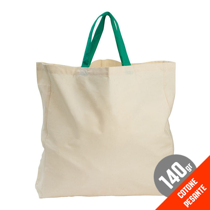 Borsa shopping in cotone biologico, 140 g/m².