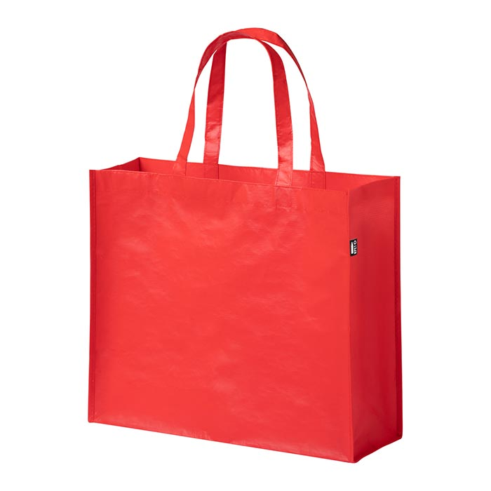 Shopping bag ecologica in PET riciclato con finitura laminata, 100 g/m².