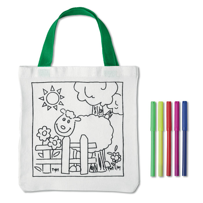 Borsa Shopper in cotone con 5 pennarelli colorati. Colorabile.