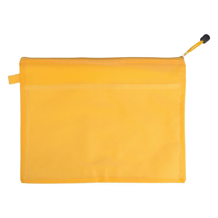 Sacchetto per documenti con zip e con tasca interna in rete. Materiale: PVC.