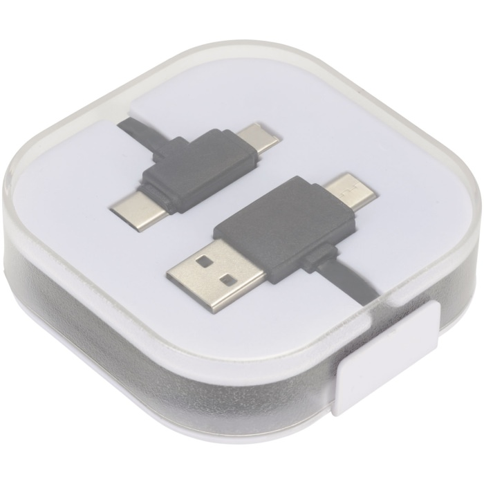 Il cavo di ricarica 4-in-1 viene fornito in una custodia in plastica trasparente. Dispone di 2 connettori USB Type-C, 1 connettore USB Type-A e di un connettore 2-in-1 per la ricarica di dispositivi Apple e Android/Micro USB.