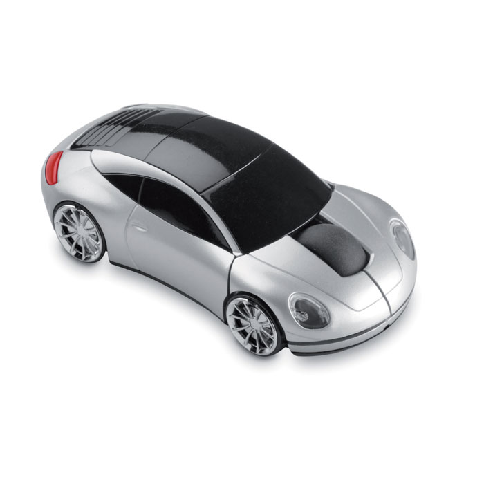Mouse wireless a forma di automobile. In ABS con rifiniture silver. 2 batterie AAA non incluse.