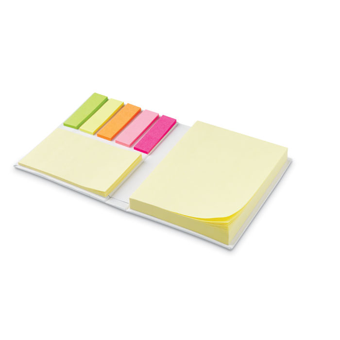 Set post-it a libretto con copertina rigida, composto da post-it in varie dimensioni.