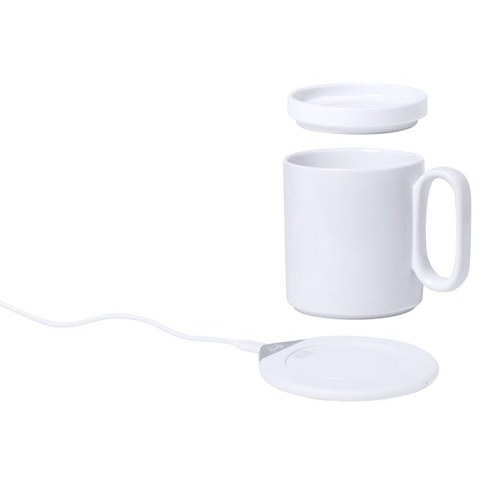 Set scalda tazza con caricabatterie rapido wireless integrato. Tazza in ceramica con coperchio, 350 ml, compresa. Cavo di ricarica USB incluso.