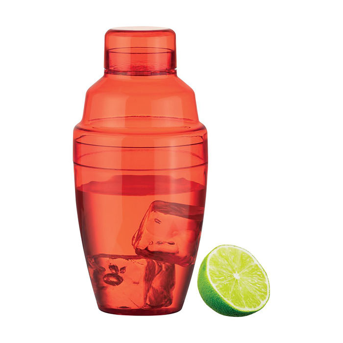 Shaker per cocktail in plastica colorato, 300 ml.