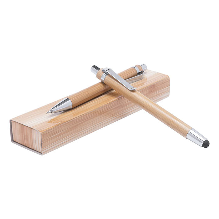 Set penne in bamboo, penna a sfera con touch screen e refill blu e matita meccanica da 0,7 mm. In scatola regalo.